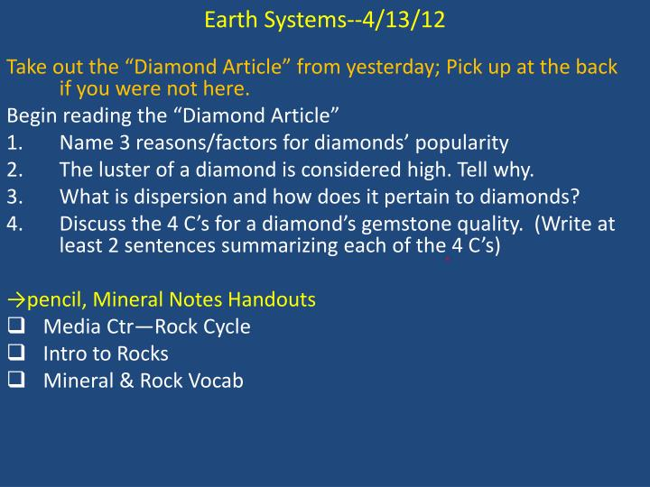 Earth Systems--4/13/12