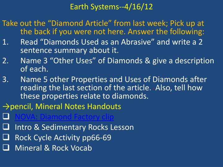 Earth Systems--4/16/12