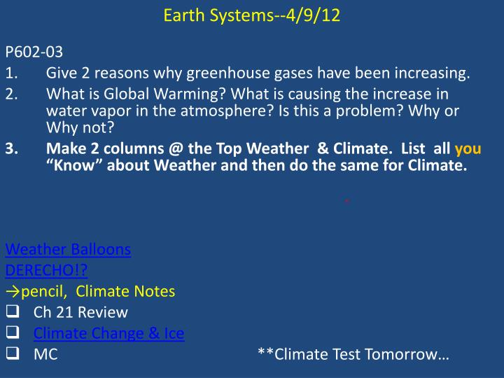 Earth Systems--4/9/12