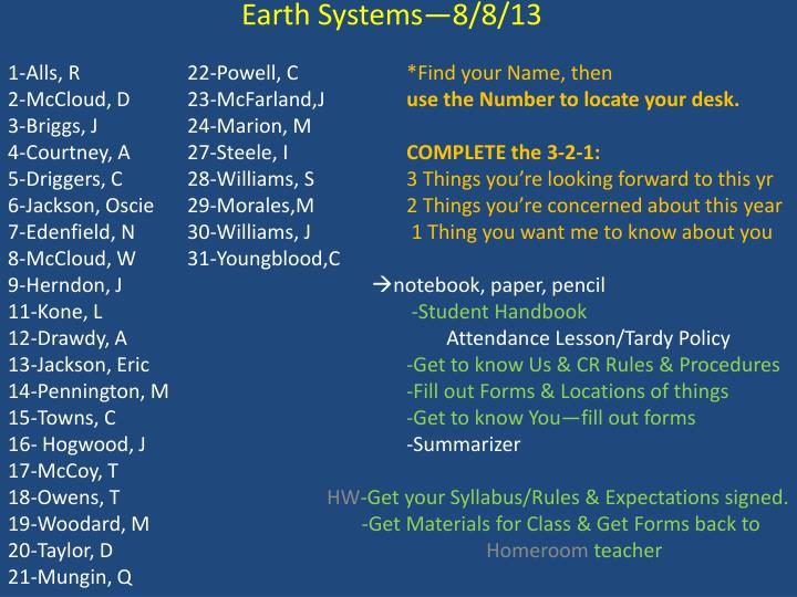 Earth Systems—8/8/13