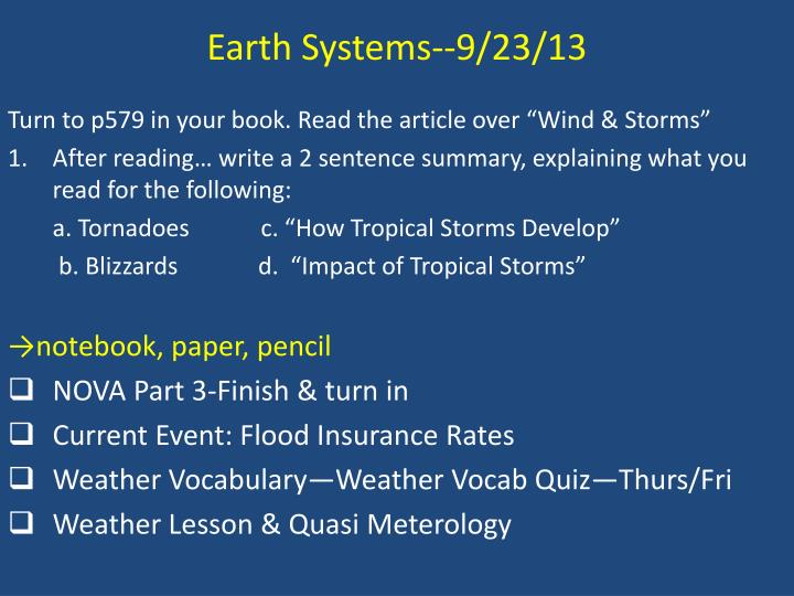 Earth Systems--9/23/13