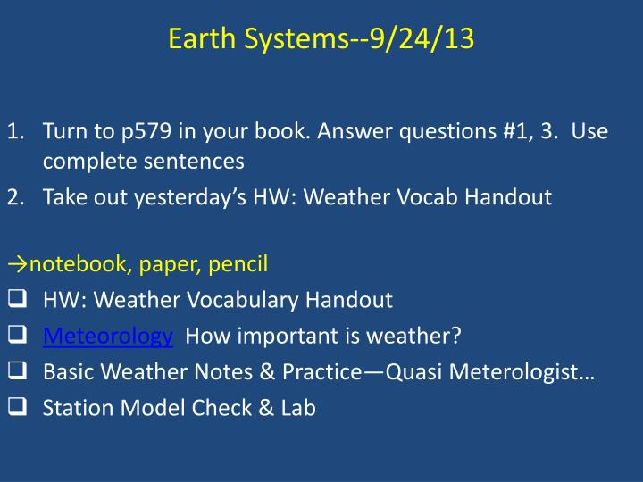 Earth Systems--9/24/13