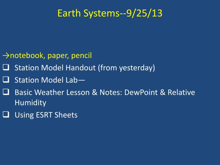 Earth Systems--9/25/13