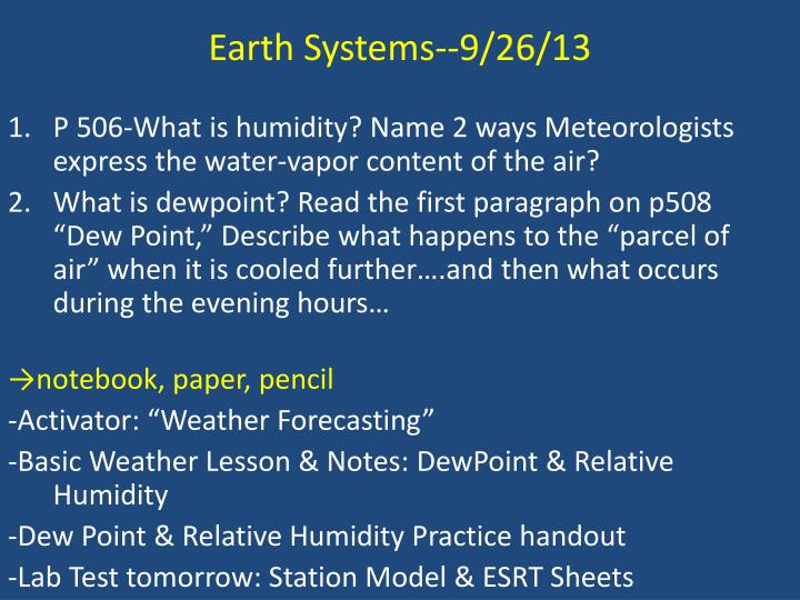 Earth Systems--9/26/13
