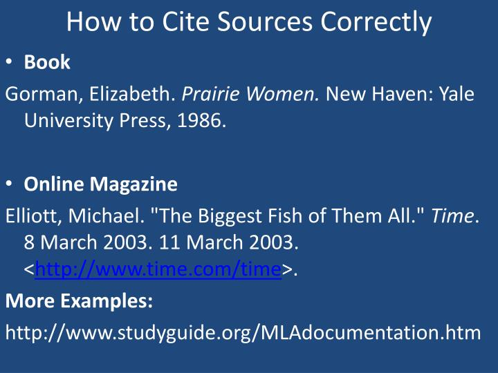 How to Cite Sources Correctly