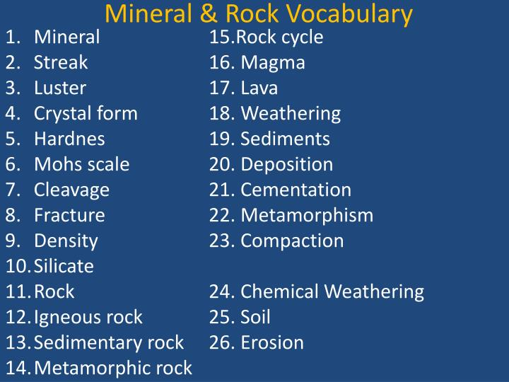 Mineral & Rock Vocabulary