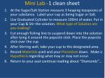 mini lab 1 clean sheet