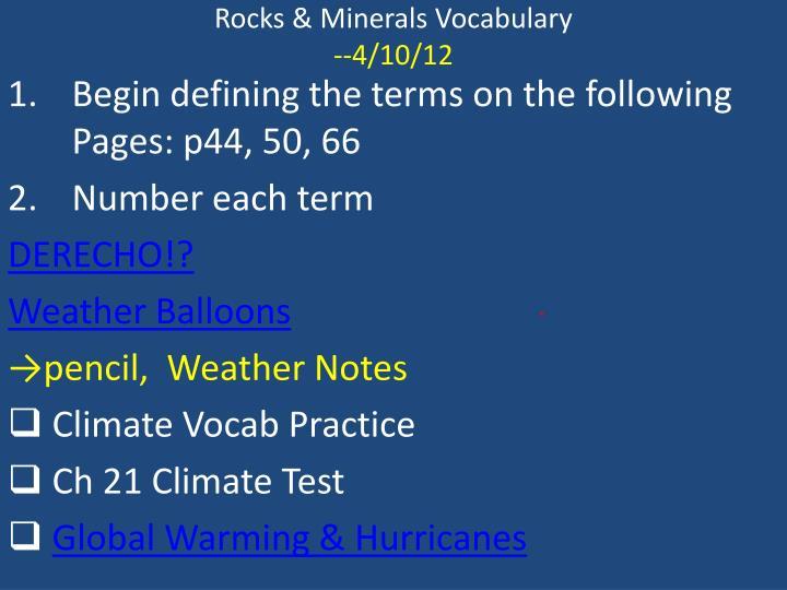Rocks & Minerals Vocabulary