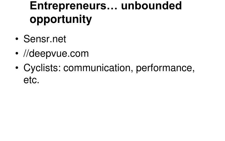 Entrepreneurs… unbounded opportunity