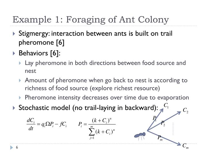 Example 1: Foraging of Ant Colony
