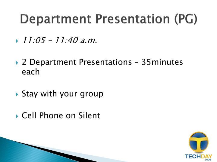 Department Presentation (PG)