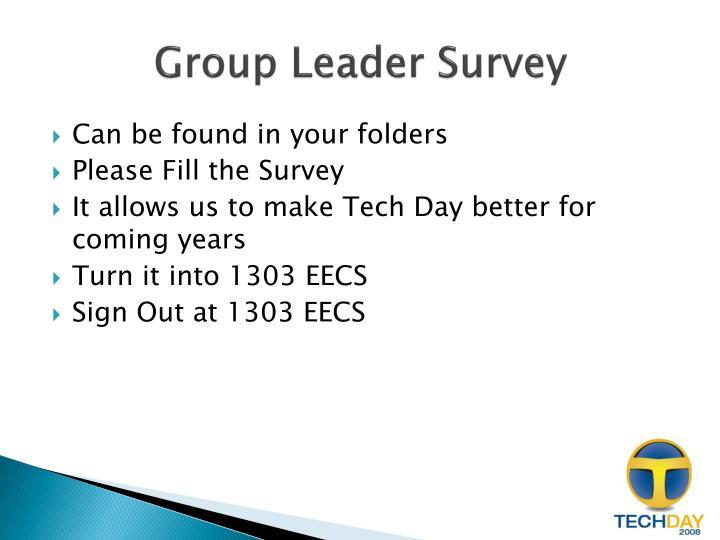Group Leader Survey