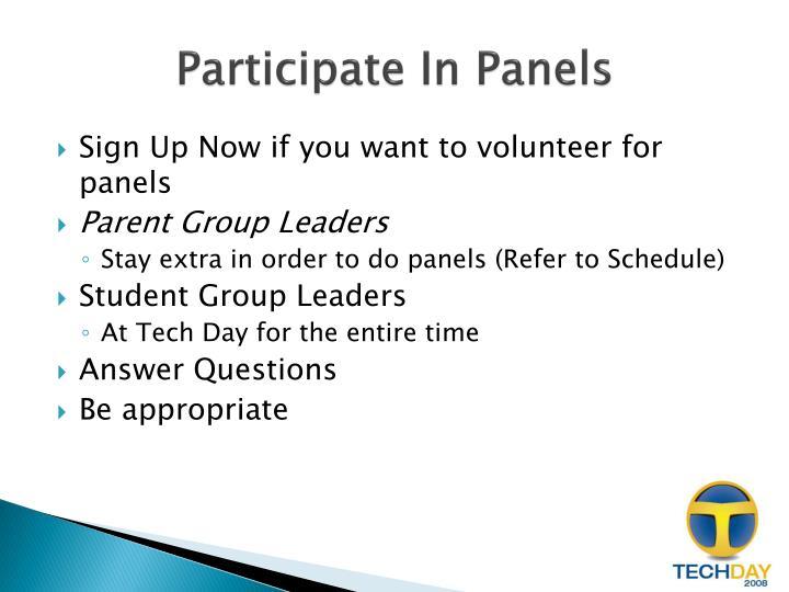 Participate In Panels