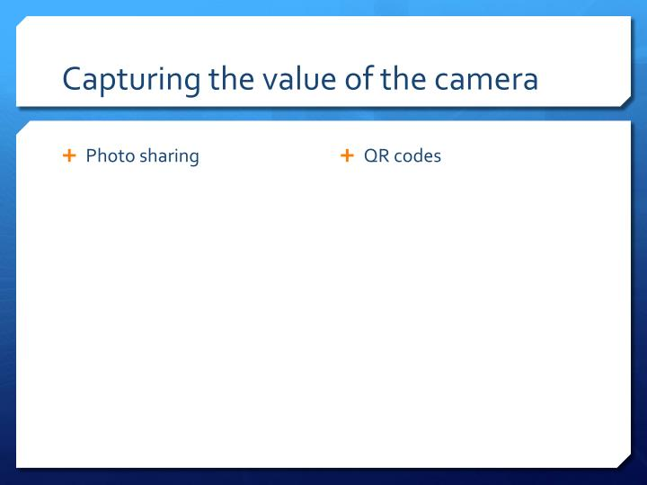 Capturing the value of the camera
