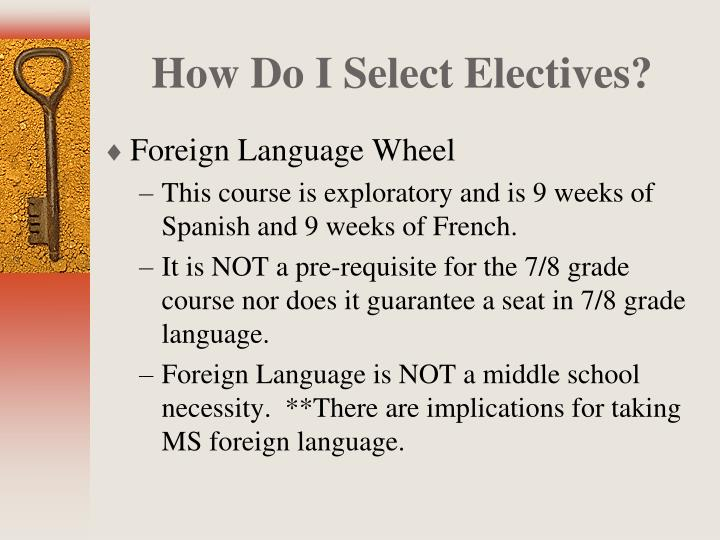 How Do I Select Electives?