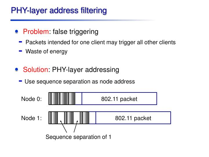 PHY-layer address filtering