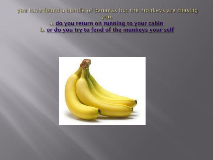 you have found a bundle of bananas but the monkeys are chasing you.
