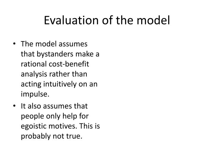 Evaluation of the model