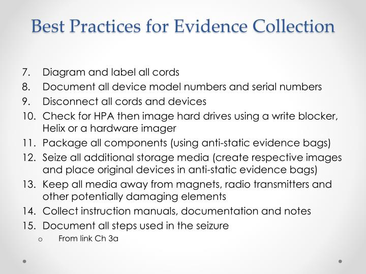 Best Practices for Evidence Collection