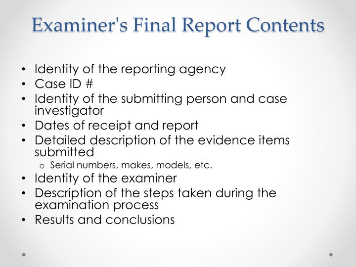 Examiner's Final Report Contents