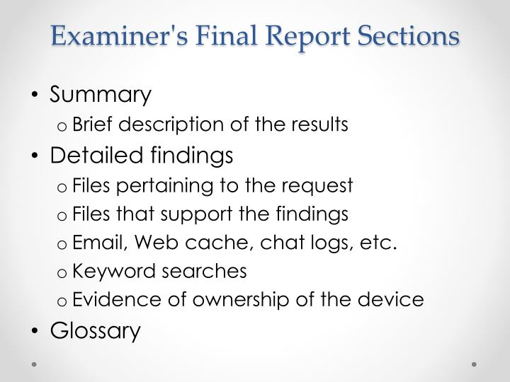 Examiner's Final Report Sections