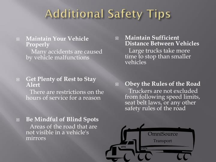 Additional Safety Tips