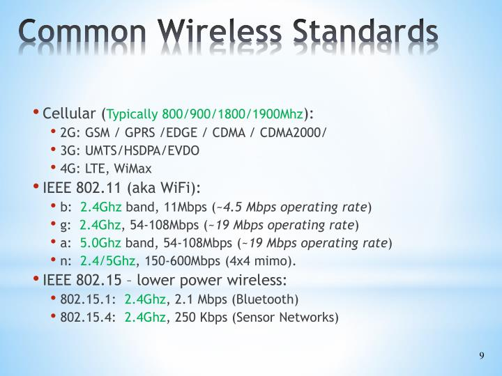 Common Wireless Standards