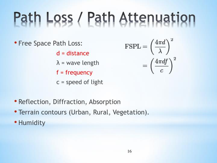 Path Loss / Path Attenuation