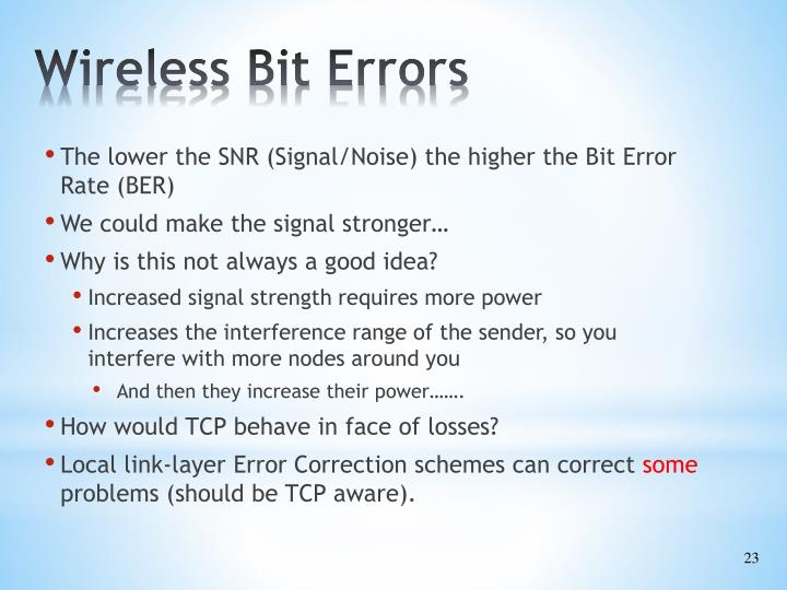 Wireless Bit Errors