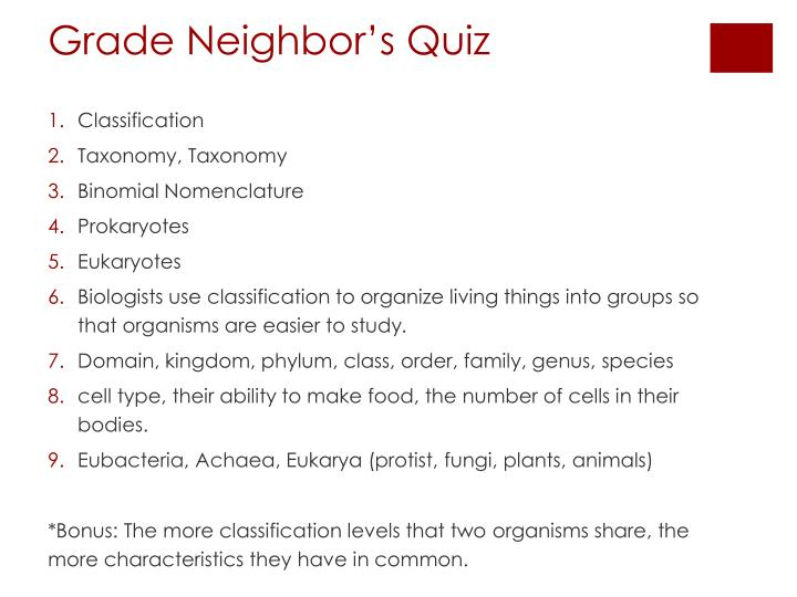 Grade Neighbor's Quiz