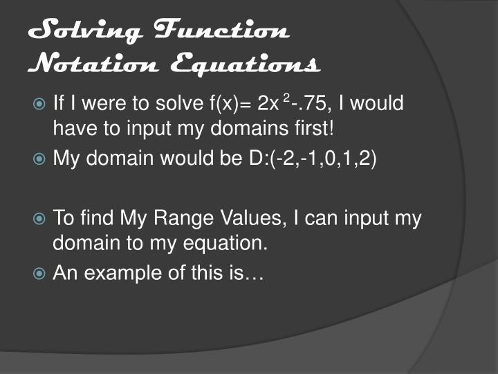 Solving Function Notation Equations
