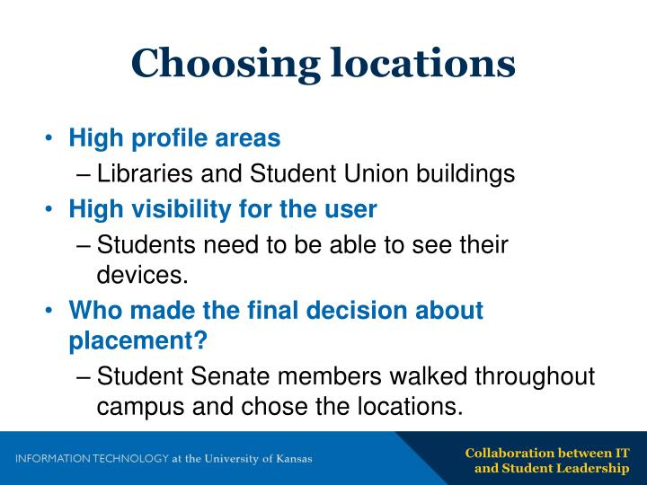 Choosing locations