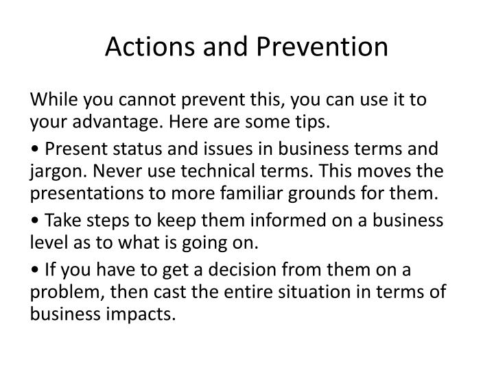 Actions and Prevention