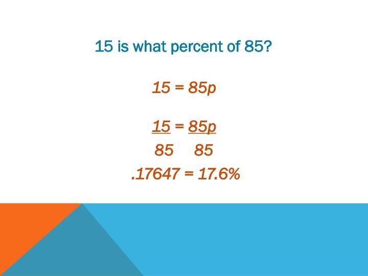 15 is what percent of 85?
