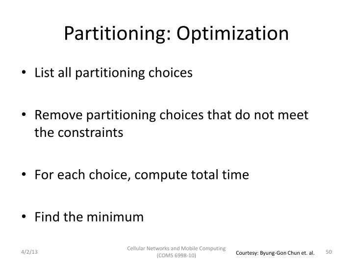 Partitioning: Optimization