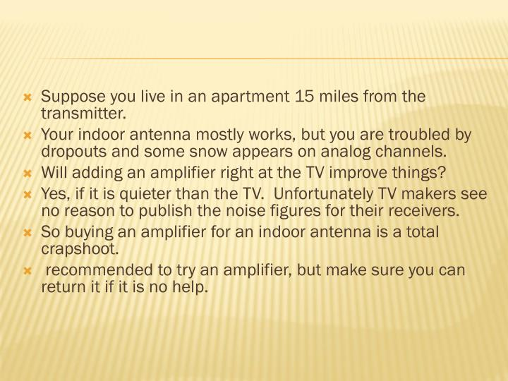 Suppose you live in an apartment 15 miles from the transmitter.