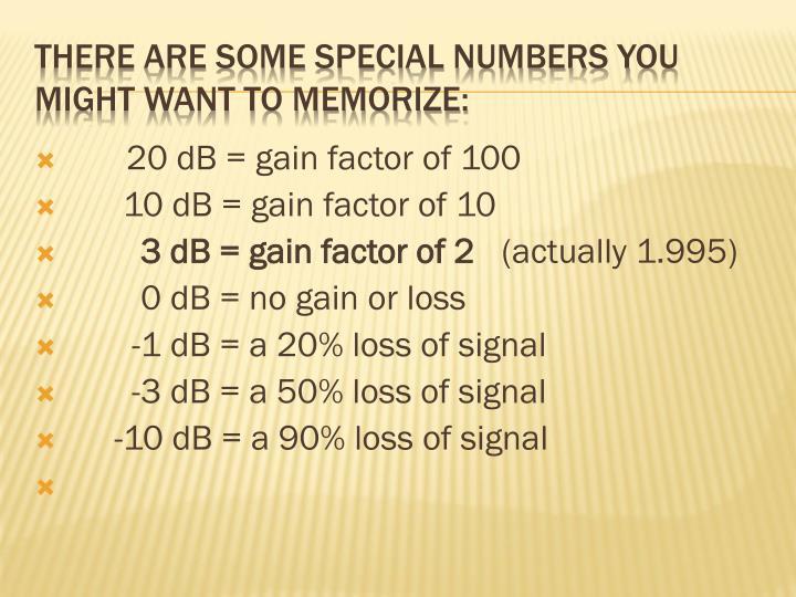 20 dB = gain factor of 100