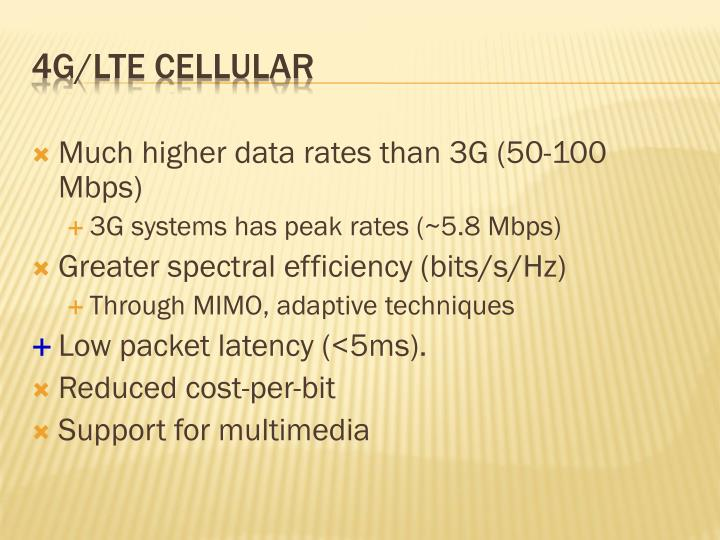 Much higher data rates than 3G (50-100 Mbps)