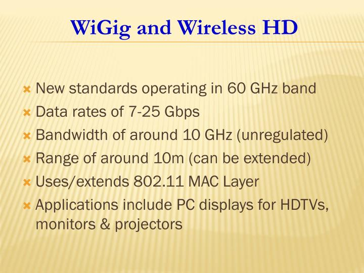 New standards operating in 60 GHz band