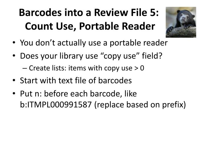 Barcodes into a Review File 5: