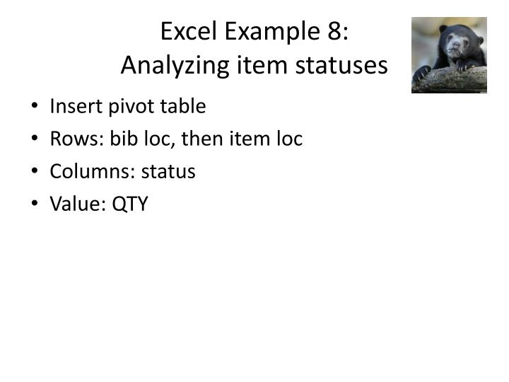 Excel Example 8: