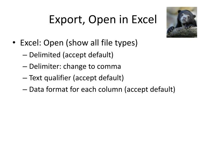 Export, Open in Excel