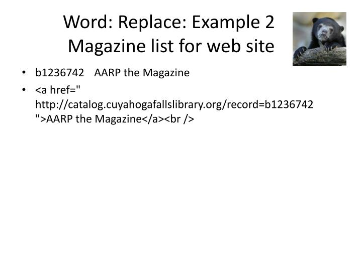 Word: Replace: Example 2