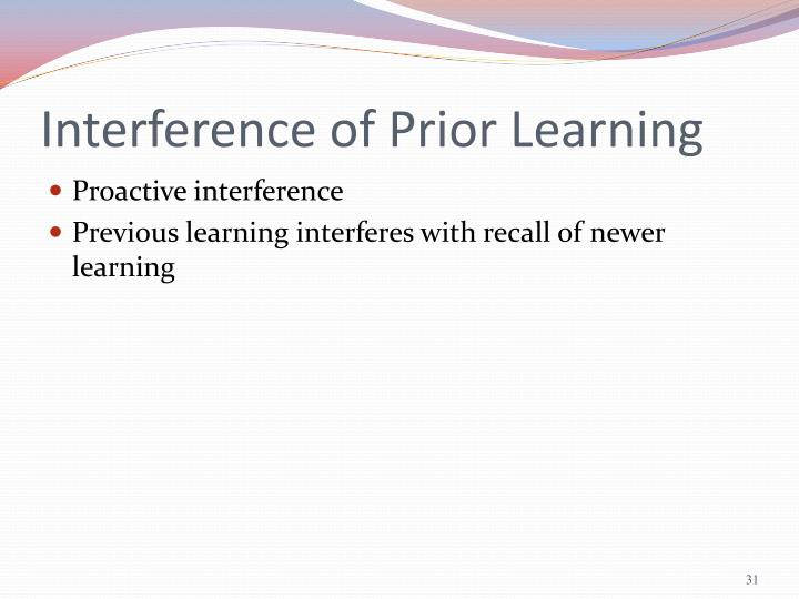 Interference of Prior Learning