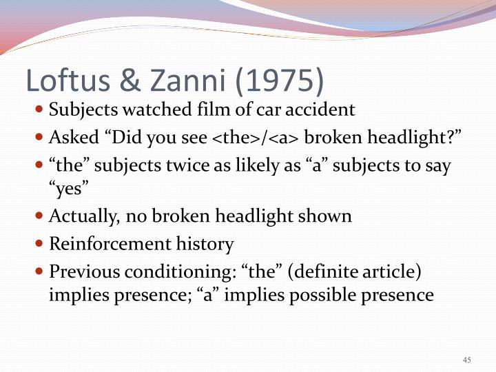 Loftus & Zanni (1975)