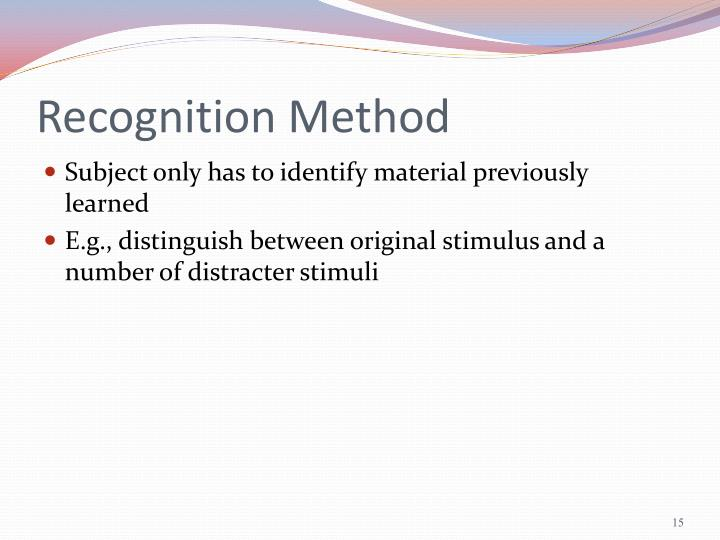 Recognition Method