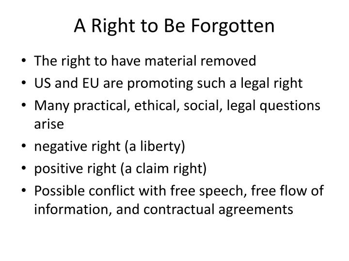 A Right to Be Forgotten