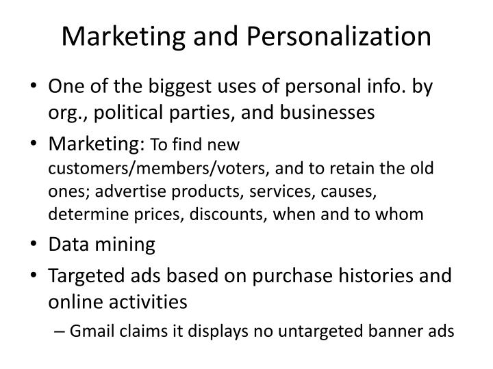 Marketing and personalization
