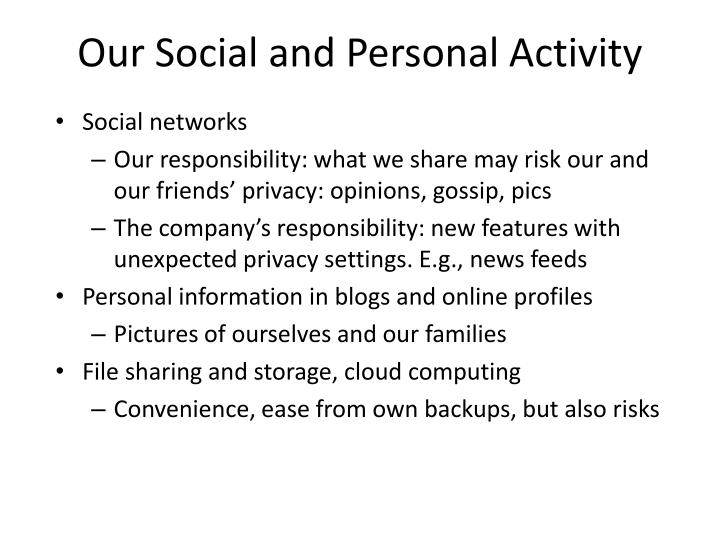 Our Social and Personal Activity