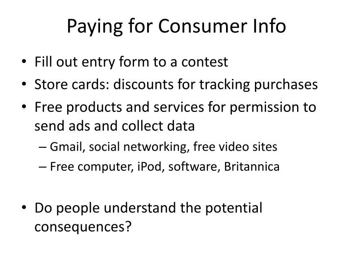 Paying for Consumer Info